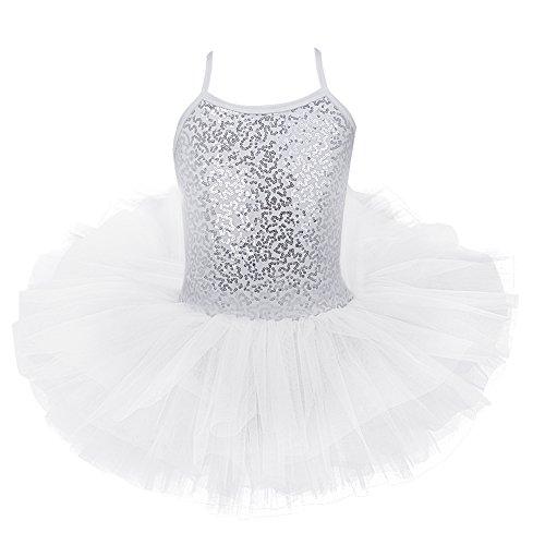 (iEFiEL Girls Camisole Sequins Ballet Tutu Dress Gymnastic Dance Leotard Skirt Dancewear Costume White 4-5 )
