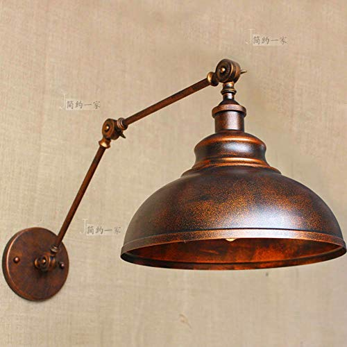 TheMonday Wall Scone Antique Creative Rusty Color Wall Light Fixture Adjustable Swing Arm Metal Iron Wall Lamp for Bedroom Living Room Basement Bar Wall Lighting (Mica Wrought Iron Rust)