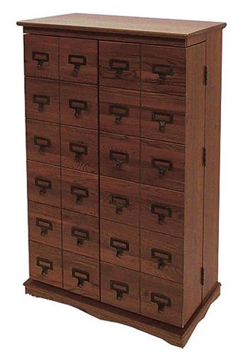 Exceptionnel Leslie Dame CD 612LW Solid Oak Mission Style Multimedia Storage Cabinet  With Library Card Catalog