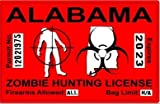 Alabama AL Zombie Hunting License Permit Red United States - Biohazard Response Team Automotive Car Window Locker Bumper Sticker