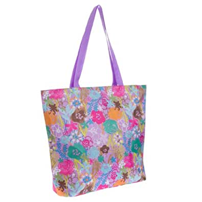 Womens Printed Tote Bag (Floral - Purple, One Size)