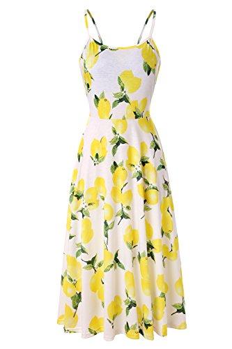Tropical Floral Dress - Viracy Knee Length Dresses Women, Girls Swing Skater Dress Summer Slim Fit A-Line Cami Midi Sundress Sleeveless Adjustable Strappy Tropical Print Leggings Dress Yellow Lemon L