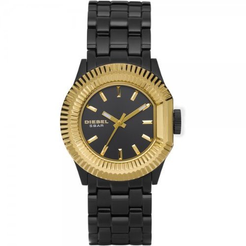 Diesel Ladies Black Stainless Watch With Gold Plated Bezel