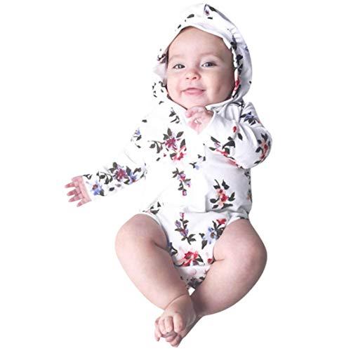 Floral Printed Hoodie Romper, Keepfit Newborn Baby Boys Girls Halloween Christmas Cute Outfit Hot Sale (12 Months, White) -