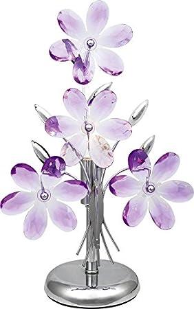 Noche Lámpara de mesa con acrílico Flores en lila Noche Lámpara de ...