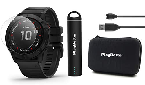 Garmin Fenix 6 Pro (Black with Black Band) Power Bundle with HD Screen Protectors, PlayBetter Portable Charger & Protective Hard Case | 2019 | PulseOx, ClimbPro, Maps, PacePro, Spotify, Music