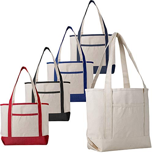 (12 Pack - Heavy Duty Canvas Deluxe Tote Bags BULK Wholesale tote bags Canvas bags Lot Cheap Tote Bags Customizable Reusable Grocery Shopping Tote Bags Medium Size Boat Craft Tote Bags (Mix-Assorted))