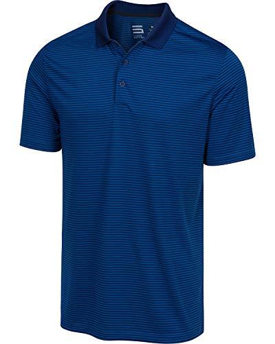 Dry Fit Golf Shirts for Men - Short Sleeve Mens Stripe Polo Shirt