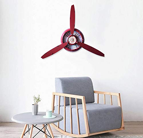 - RISEON Vintage Metal Aircraft Airplane Propeller Fan Wall Hanging Wall Clocks Large Wall Sculptures Art for Living Room Bedroom bathrooms Office Kitchen (Red)