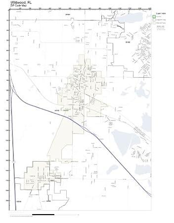 Wildwood Florida Map.Amazon Com Zip Code Wall Map Of Wildwood Fl Zip Code Map Laminated