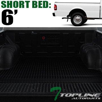 Topline Autopart Black Rubber Diamond Plate Truck Bed Floor Mat Liner For 93-11 Ford Ranger ; 94-10 Mazda B2300 / B2500 / B3000 / B4000 6 Feet (72') Short Bed