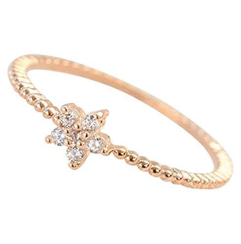 14K-CZ-Crystal-Cute-Flower-Solitaire-Dainty-Stackable-Ring-Rose-Gold-White-Gold-Plated-Size-4-8