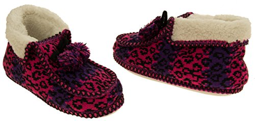 Coolers Faux Fairisle Pink Boots Womens Lined Winter Slipper Fur dwEFxyqT8X