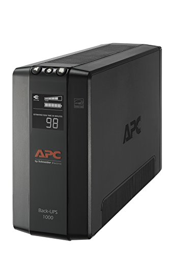 - APC UPS Battery Backup & Surge Protector with AVR, 1000VA, APC Back-UPS Pro (BX1000M)
