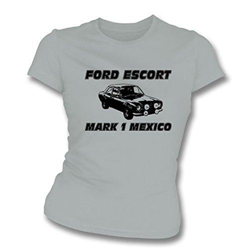 TshirtGrill Mexiko-Mädchens Ford- Escortkennzeichen-1 dünnes T-Shirt der Sitz, Farbe- Grau