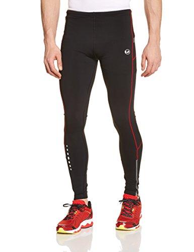Ultrasport Herren Laufhose gefüttert mit Quick-Dry-Funktion lang, black red, XL, 380100000190
