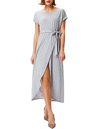 Kate Kasin Crew Neck Maxi Casual Dress With Belt Split Front For Women Grey 2XL,KKAF1036-3