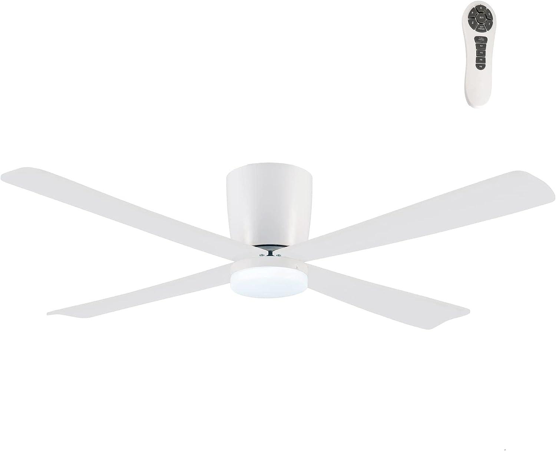 Wonderlamp - Ventilador de techo blanco con luz y mando Napur, Silencioso, 5 velocidades, Para techos bajos, Color Luz regulable