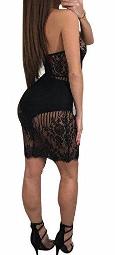 Clubwear Bodycon Des Femmes Sans Dossier Domple Voir À Travers La Dentelle Licol Sexy Mini-robe Noire