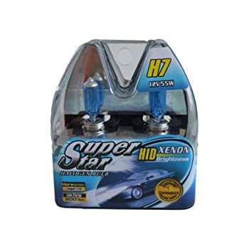 SUPERSTAR H7 8500k Super White High Performance, Long Lasting Halogen Headlight Bulb, Xenon and