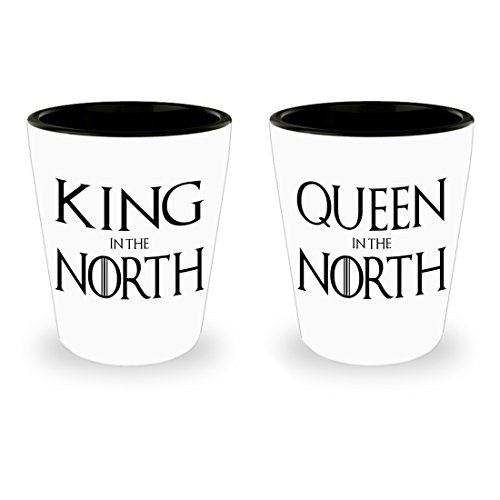 King In The North Queen In The North - Game Thrones Inspired Shot Glass Set - Mother