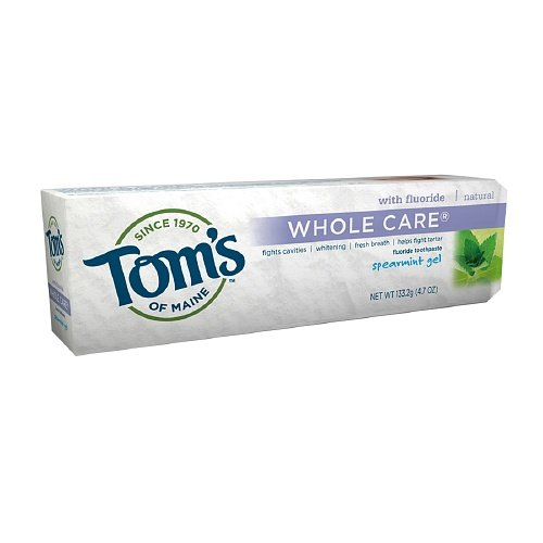Tom's of Maine Whole Care with Fluoride Natural Toothpaste Gel, Spearmint 4.7 oz (Pack of 3)