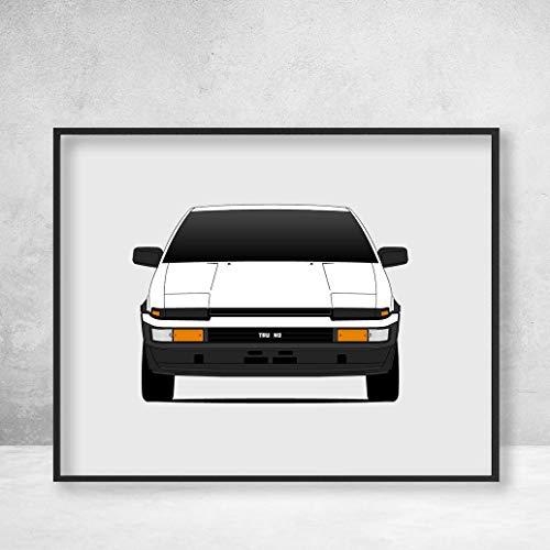 Toyota AE86 Trueno Hacki Roku Initial D Poster Print Wall Art Decor Handmade Corolla Levin Sprinter (Initial Wall D Scroll)