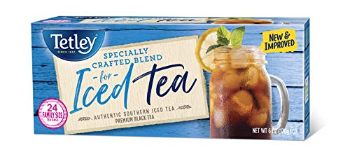 (Tetley Black Tea, Iced Tea Blend, Family Size, 24 Round Tea Bags (Pack of 6))