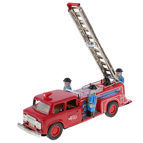 (Jili Online Inertia Friction Powered Fire Ladder Truck Model Tin Toy Metal Crafts Decor)