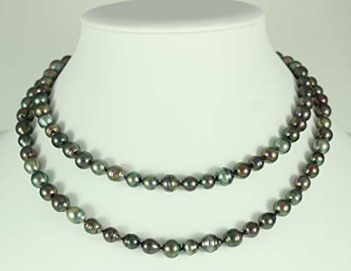 Ocean Black Pearl - Sautoir Femme - Perles de culture de Tahiti - 8-10mm - 100 cm - Sa CL AB2