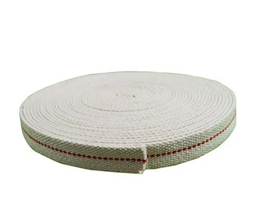 Mr.Garden 1 inch 100% Cotton Flat Wick for Paraffin Oil or Kerosene Based Lanterns Genuine Red Stitch, 6 Foot Roll