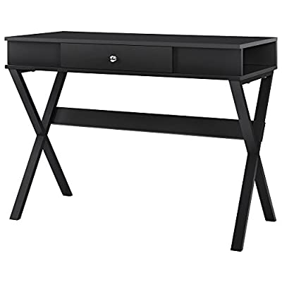 Ameriwood Home Paxton Campaign Desk, Black - Create the perfect study and work space in your home with the Ameriwood Home Paxton Campaign desk This desk gives you all the space you Need to keep your laptop, phones, tablets, notebooks and more with the smooth Top surface and 2 side cubbies Each side compartment offers a wire management hole for a convenient Charging Station for your electronics and decorative X-shaped legs allow for Plenty of Leg room - writing-desks, living-room-furniture, living-room - 41nilQECF L. SS400  -