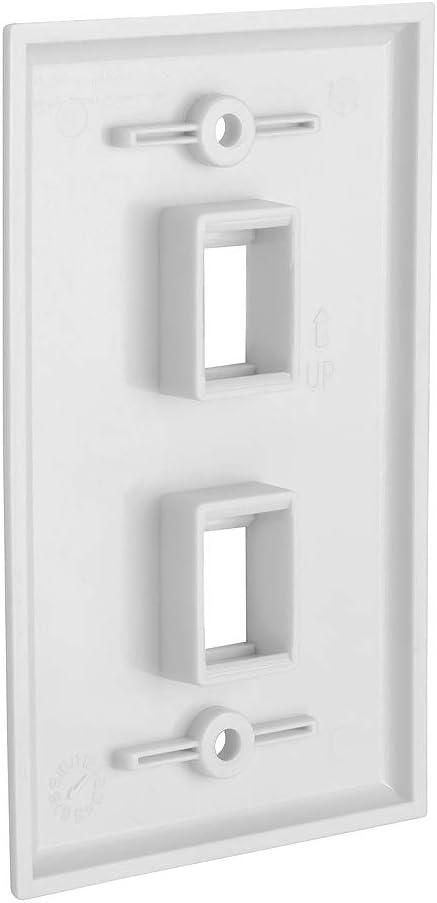 White 2 Port Keystone Wall Plate Single-Gang Wall Plate with Standard Size Keystone Jack Insert CMPLE