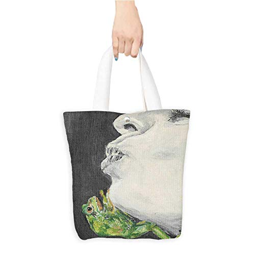 - Eco-Friendly Canvas bags Mod Drawing Lady Kissing Frog Prince Soul Mat Love Boho Animal Chic Easy to all-match W16.5 x H14 x D7 INCH