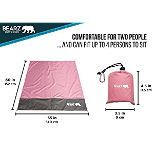 BEARZ Outdoor Beach Blanket/Compact Pocket Blanket 55″x60″, Waterproof Ground Cover, Sand Proof Picnic Mat for Travel, Hiking, Camping, Festivals - Durable Tarp w/Corner Pockets, Loops & Bag (Pink)