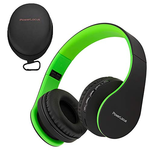 PowerLocus Wireless Bluetooth Over-Ear Stereo Foldable Headphones, Wired Headsets with Built-in Microphone for iPhone, Samsung, LG, iPad (Black/Green) (Green Bluetooth Headphones)