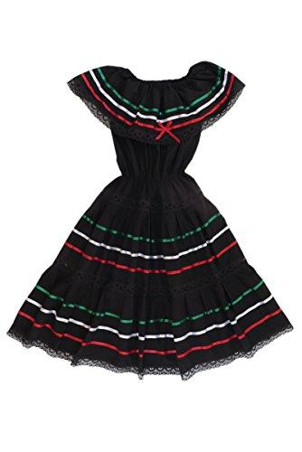 Mexican Clothing Co Girls Mexican Fiesta Dress Poplin S(8) Black 9211 ()