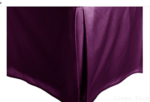 Purple Solid Faux Silk Bed Skirt King Size Dust Ruffle Bedding 14