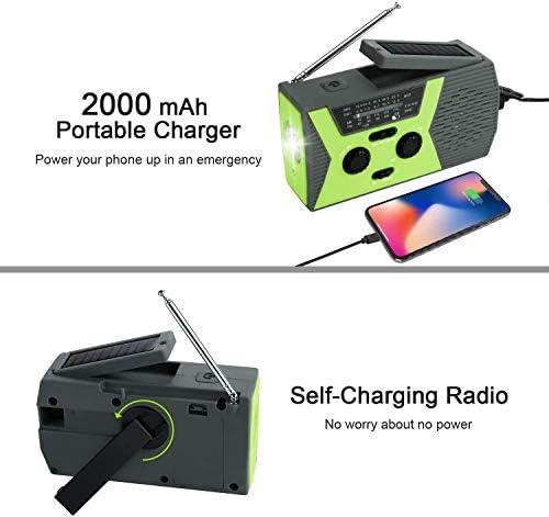 Radio AM/FM con manovella Torcia a LED, Alimentato Solare NOAA Weather Radio, Lampada Lettura, USB Banca di Potere del Caricatore e SOS di Allarme for Uso Domestico ed Esterno di Emergenza