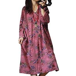 YESNO YQ3 Women Long Casual Loose Denim Dress Ethnic Floral Print V Neck Long Sleeve/Pockets