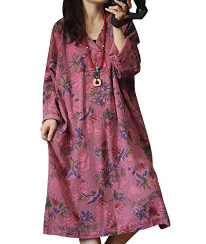 - YESNO YQ3 Women Long Casual Loose Denim Dress Ethnic Floral Print V Neck Long Sleeve/Pockets (XL, Red)