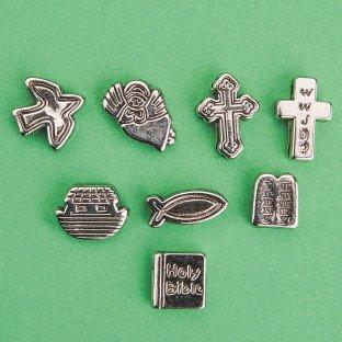 Metallic Christian Symbol Beads