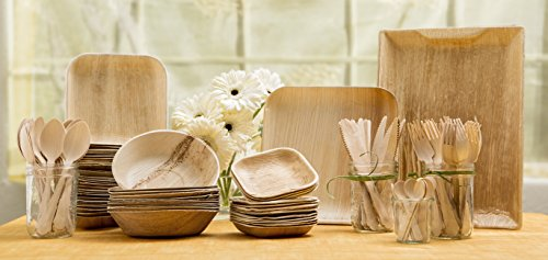 Bowl Set Bamboo - Leafware Party Pack - Natural Palm Leaf Dinnerware Set