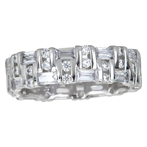 (Decadence Women's Sterling Silver Baguette and Round Eternity Ring, 7)