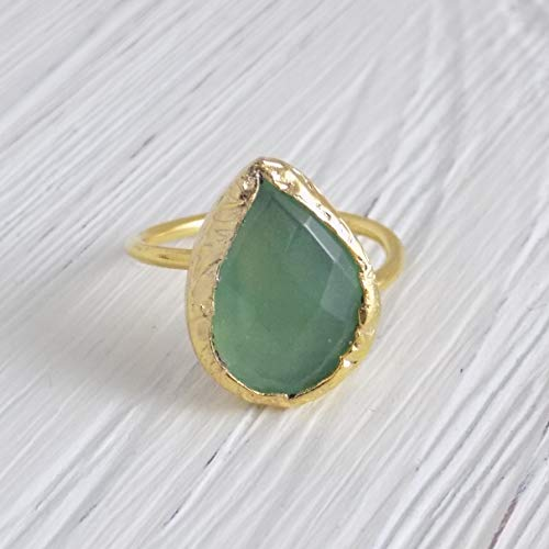 Chalcedony Gold Ring - Green Chalcedony Ring Green Crystal Gemstone Bezel Ring Small Stone Adjustable Gold Band d3-71
