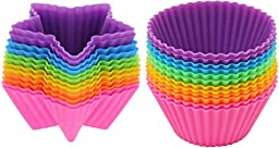 Silicone Baking Cups-24 Piece- Food Grade Silicone Baking Cups, Star and Round Shape-comes in Six Assorted Colors
