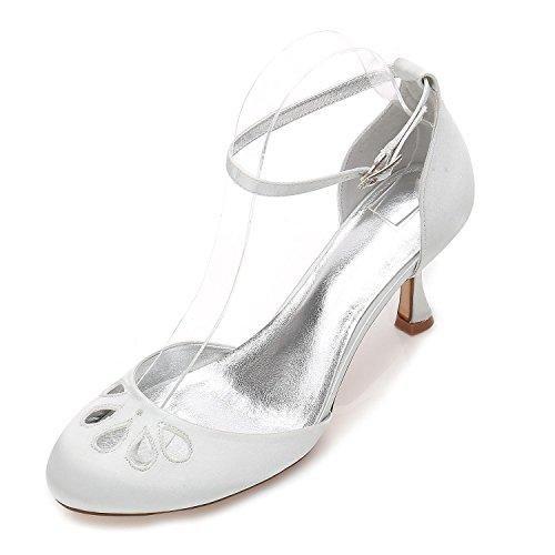 Del Zapatos Bombas Fiesta Silver De Redonda Mujeres Las 17061 Partido 37 L Tarde Tacones Boda Satén Punta Bajos La yc Prom n4Fw8xZ6qP