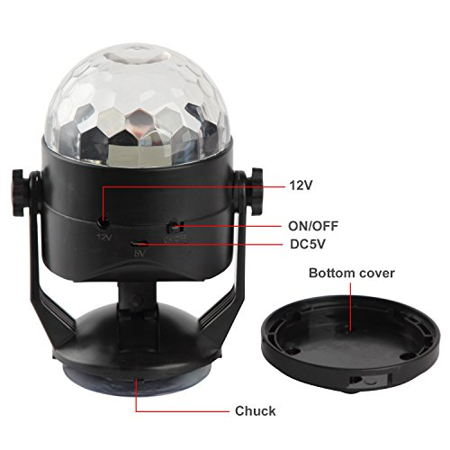 Portable Sound Activated Party Lights for Outdoor and Indoor, Battery Powered/USB Plug in, Dj Lighting, RBG Disco Ball, Strobe Lamp Stage Par Light for Car Room Dance Parties Birthday DJ Bar Club Pub by Luditek (Image #7)'