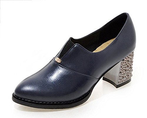 Aisun Womens Vintage Professional Wear To Work Ufficio Low Cut A Punta Svasata Slip On Pumps Tacco Grosso Gattino Scarpe Blu