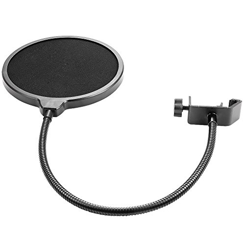 Neewer NW(B-3) 6 inch Studio Microphone Mic Round Shape Wind Pop Filter Mask Shield with Stand Clip (Black Filter) - Image 5